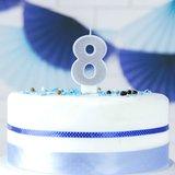 PartyDeco Verjaardag Kaars Nummer 8 - Zilver_