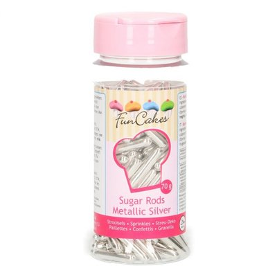 FunCakes Metallic Sugar Rods XL -Silver-  70g