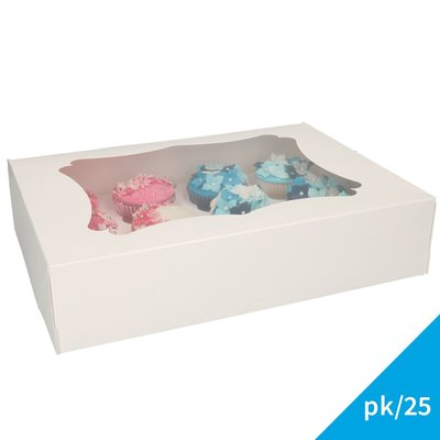 FunCakes Cupcake Doos 12- Blanco pk/25