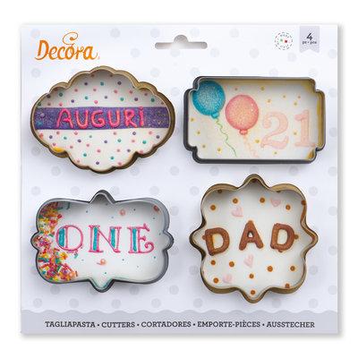 Decora Mini Frame Cookie Cutter Set 4st
