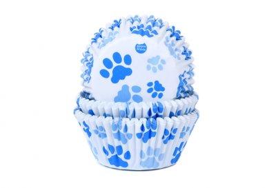 House of Marie Baking Cups Hondenpoot Blauw pk/50