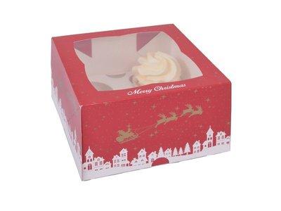 House of Marie Cupcake Box 4 Christmas pk/2