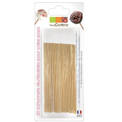 Scrapcooking Wooden Cake Pop Sticks 13cm pk/20