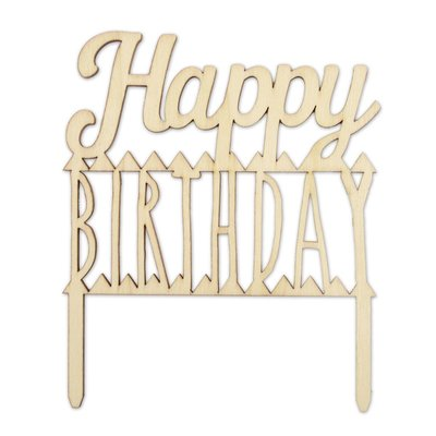Scrapcooking Cake Topper Wood Happy Birthday