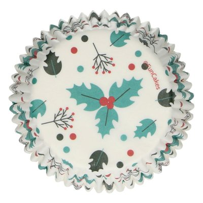 FunCakes Baking Cups -Holly Leaf- pk/48