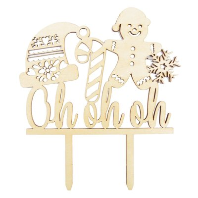 Scrapcooking Cake Topper Wood Oh Oh Oh