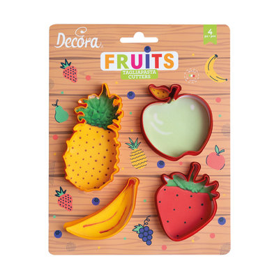 Decora Plastic Cookie Cutters Fruits Set/4