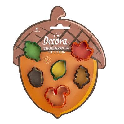 Decora Autumn Leaves Mini Plastic Cookie Cutters Set/6