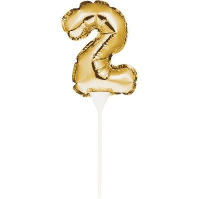 AH Mini Balloon Cake Topper Gold Number 2