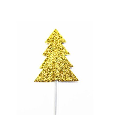 AH Glitter Christmas Tree Cupcake Toppers Gold pk12