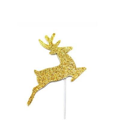 AH Glitter Reindeer Cupcake Toppers Gold pk12