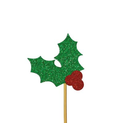 AH Glitter Holly Cupcake Toppers Red and Green pk/12