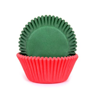House of Marie Baking Cups Rood/Groen pk/50