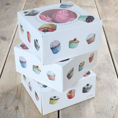 FunCakes Cupcake Doosje 4 -Cupcakes 17x17x8cm- + insert pk/3