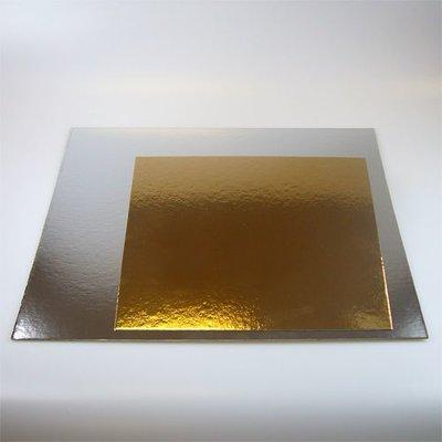 FunCakes Taartkartons zilver/goud VIERKANT 25cm, pk/3