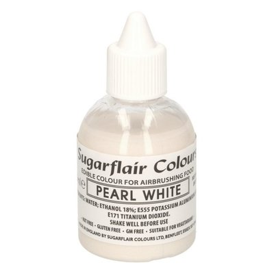 Sugarflair Airbrush Kleurstof Parel Wit Glitter 60 ml