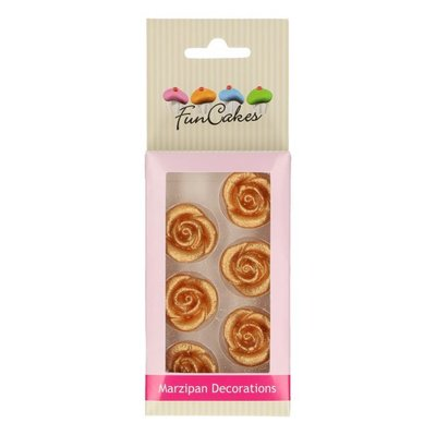 Funcakes Eetbare Marsepein Decoratie Rozen Goud set/6