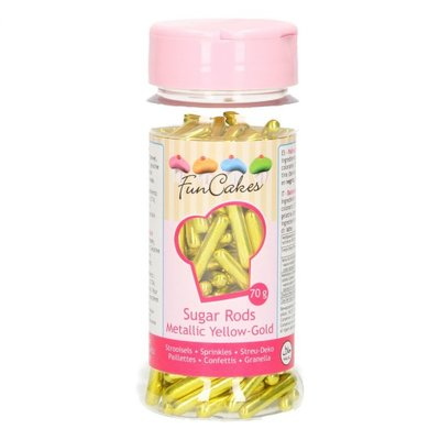 FunCakes Metallic Sugar Rods XL -Yellow Gold- 70g