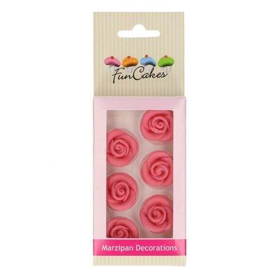 Funcakes Eetbare Marsepein Decoratie Rozen Roze set/6