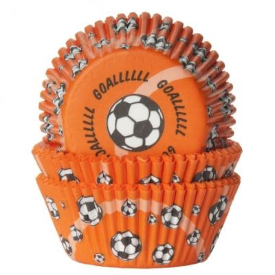 House of Marie Baking Cups Voetbal Oranje - pk/50