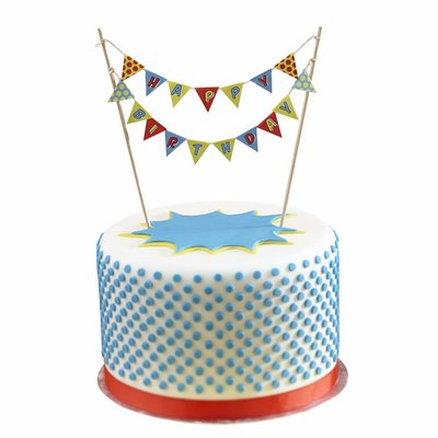 Ginger Ray pop art party cake bunting Super hero