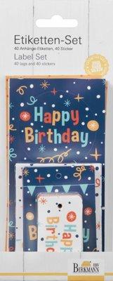 Birkmann happy birthday gift tag & labelling set