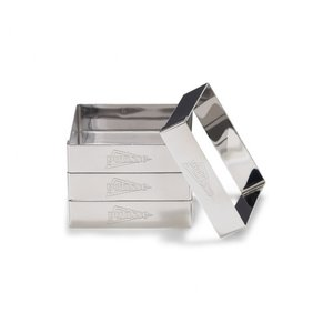 Patisse flan /cake ringen set vierkant 8cm set/4