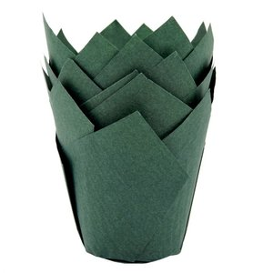 House of Marie Muffin Cups Tulp Donkergroen pk/36