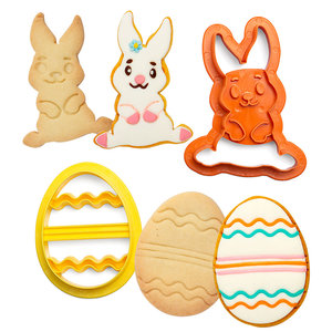 Decora Plastic Cookie Cutters Bunny And Decorated Eggs Set/2