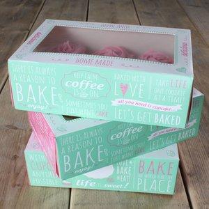 FunCakes Cupcake Doosje -Quotes- 24x16cm + insert pk/3
